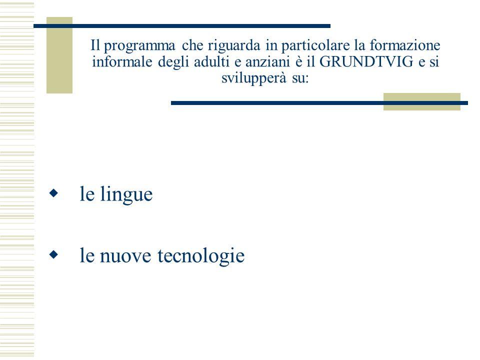Il programma che riguarda in particolare la formazione informale degli adulti e anziani è il GRUNDTVIG e si svilupperà su: le lingue le nuove tecnologie