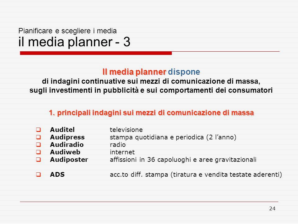 24 Pianificare e scegliere i media il media planner - 3 Il media planner Il media planner dispone di indagini continuative sui mezzi di comunicazione di massa, sugli investimenti in pubblicità e sui comportamenti dei consumatori 1.