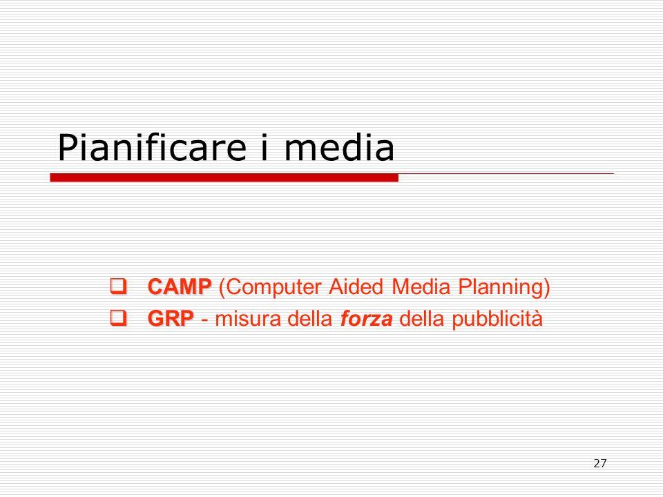 27 Pianificare i media CAMP CAMP (Computer Aided Media Planning) GRP GRP - misura della forza della pubblicità