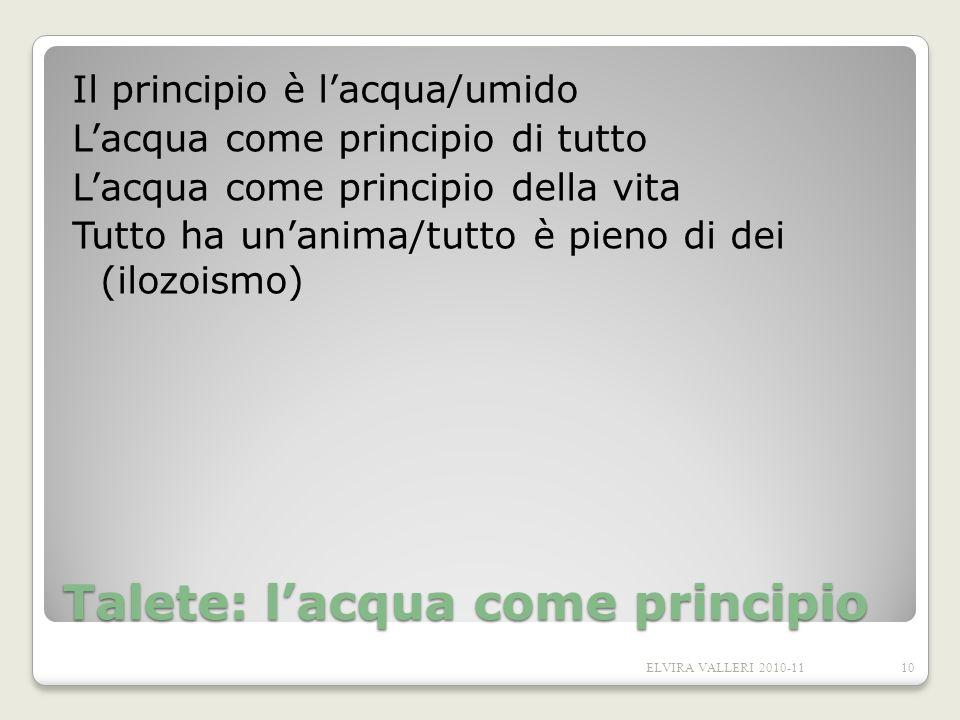 Talete: lacqua come principio Il principio è lacqua/umido Lacqua come principio di tutto Lacqua come principio della vita Tutto ha unanima/tutto è pie