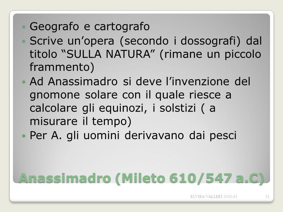 Anassimadro (Mileto 610/547 a.C) Geografo e cartografo Scrive unopera (secondo i dossografi) dal titolo SULLA NATURA (rimane un piccolo frammento) Ad