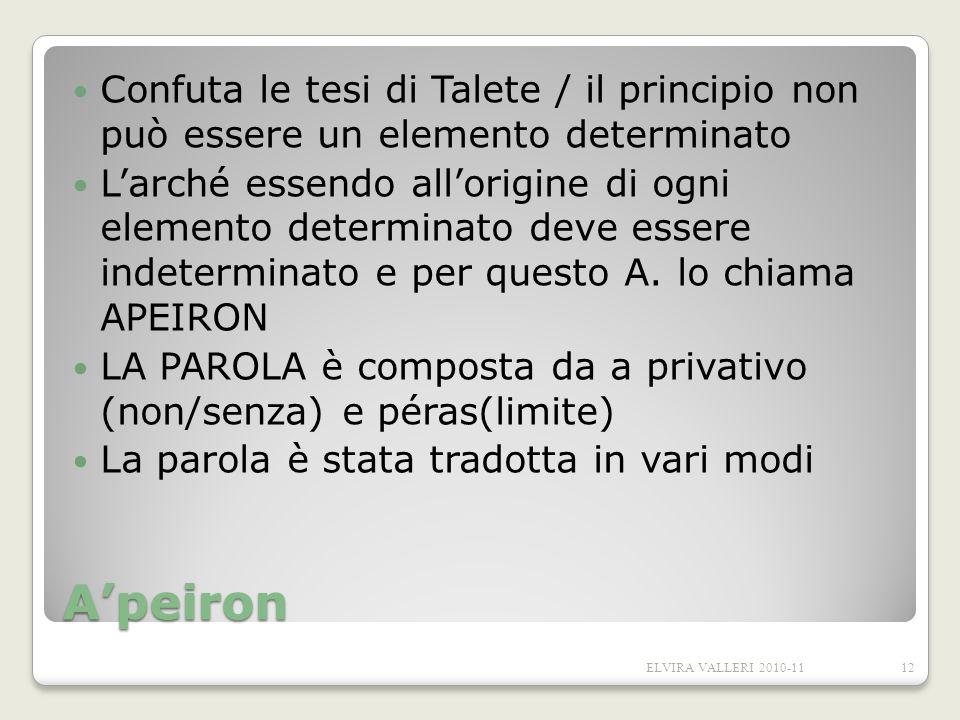 Apeiron Confuta le tesi di Talete / il principio non può essere un elemento determinato Larché essendo allorigine di ogni elemento determinato deve es