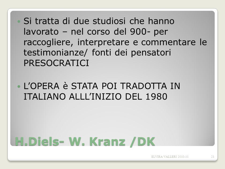 H.Diels- W. Kranz /DK Si tratta di due studiosi che hanno lavorato – nel corso del 900- per raccogliere, interpretare e commentare le testimonianze/ f