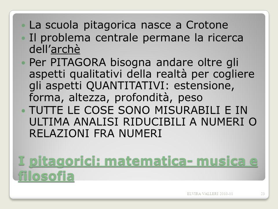 I pitagorici: matematica- musica e filosofia La scuola pitagorica nasce a Crotone Il problema centrale permane la ricerca dellarchè Per PITAGORA bisog