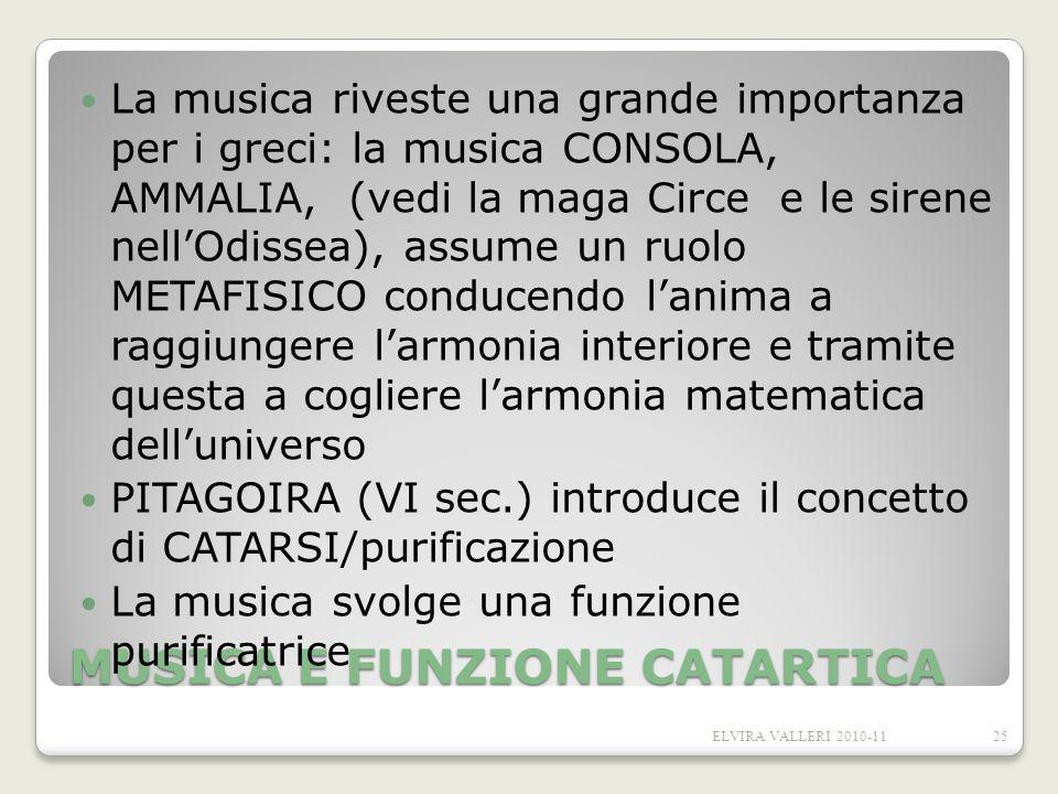 MUSICA E FUNZIONE CATARTICA La musica riveste una grande importanza per i greci: la musica CONSOLA, AMMALIA, (vedi la maga Circe e le sirene nellOdiss