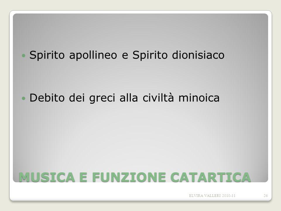 MUSICA E FUNZIONE CATARTICA Spirito apollineo e Spirito dionisiaco Debito dei greci alla civiltà minoica 26ELVIRA VALLERI 2010-11