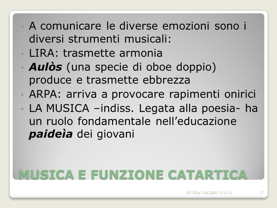 MUSICA E FUNZIONE CATARTICA A comunicare le diverse emozioni sono i diversi strumenti musicali: LIRA: trasmette armonia Aulòs (una specie di oboe dopp