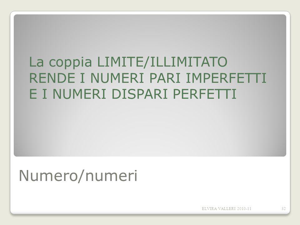 Numero/numeri La coppia LIMITE/ILLIMITATO RENDE I NUMERI PARI IMPERFETTI E I NUMERI DISPARI PERFETTI 32ELVIRA VALLERI 2010-11