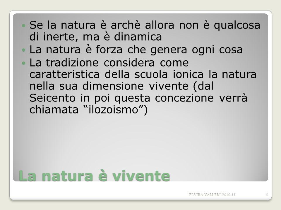 La natura è vivente Se la natura è archè allora non è qualcosa di inerte, ma è dinamica La natura è forza che genera ogni cosa La tradizione considera