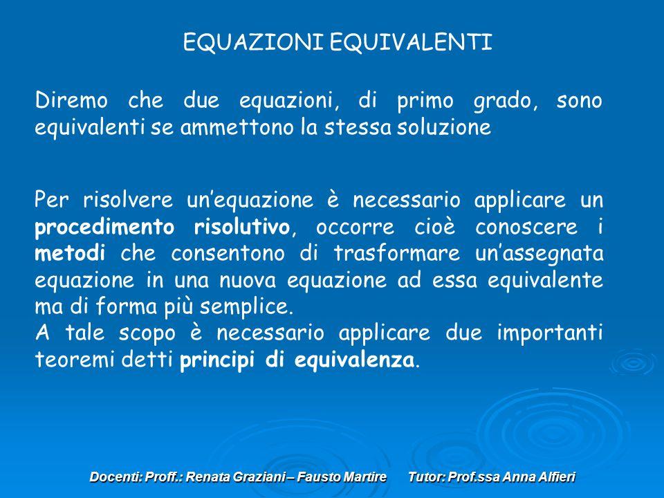 Docenti: Proff.: Renata Graziani – Fausto Martire Tutor: Prof.ssa Anna Alfieri EQUAZIONI EQUIVALENTI Diremo che due equazioni, di primo grado, sono eq
