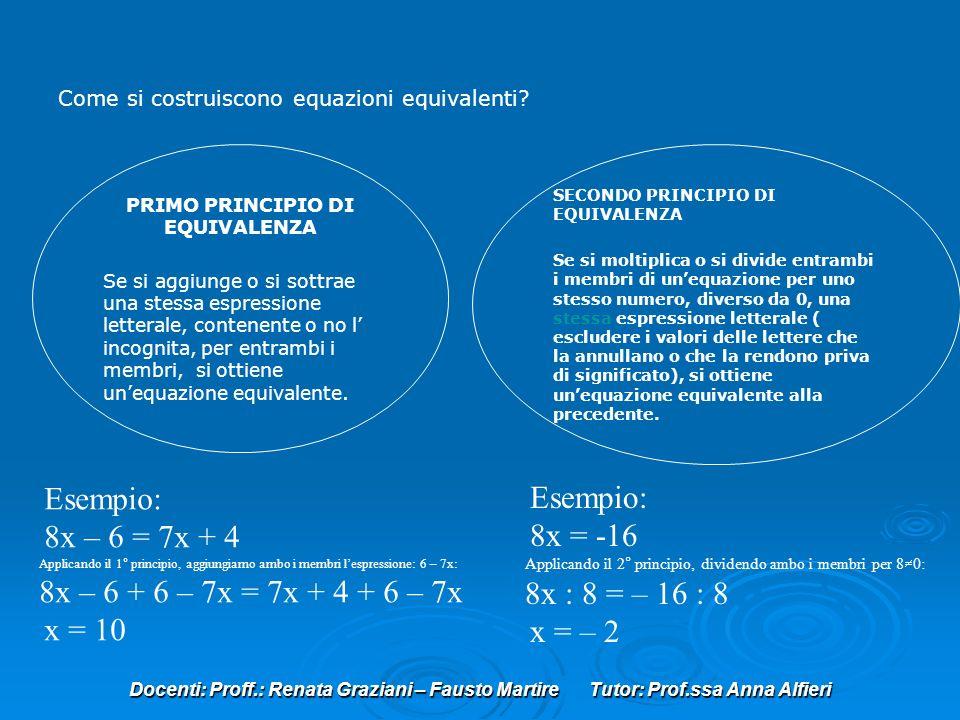 Docenti: Proff.: Renata Graziani – Fausto Martire Tutor: Prof.ssa Anna Alfieri Come si costruiscono equazioni equivalenti? PRIMO PRINCIPIO DI EQUIVALE