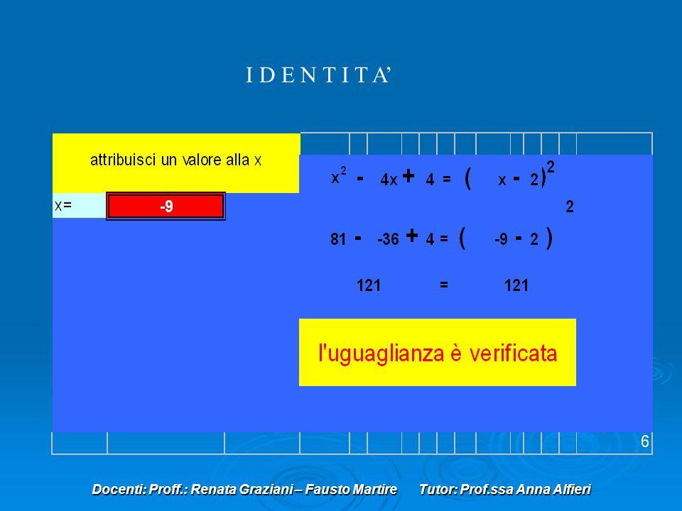 Docenti: Proff.: Renata Graziani – Fausto Martire Tutor: Prof.ssa Anna Alfieri I D E N T I T A