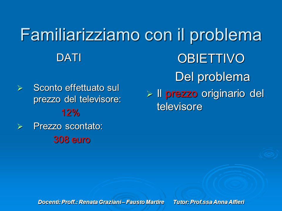 Docenti: Proff.: Renata Graziani – Fausto Martire Tutor: Prof.ssa Anna Alfieri Familiarizziamo con il problema DATI DATI Sconto effettuato sul prezzo