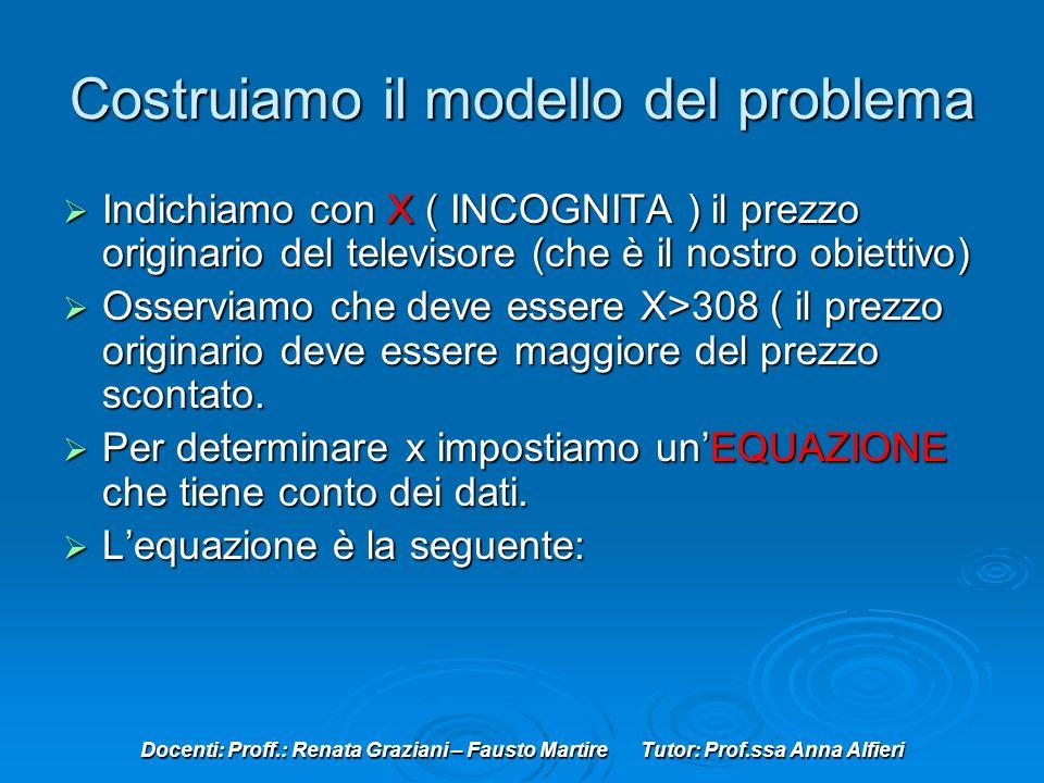 Docenti: Proff.: Renata Graziani – Fausto Martire Tutor: Prof.ssa Anna Alfieri Costruiamo il modello del problema Indichiamo con X ( INCOGNITA ) il prezzo originario del televisore (che è il nostro obiettivo) Indichiamo con X ( INCOGNITA ) il prezzo originario del televisore (che è il nostro obiettivo) Osserviamo che deve essere X>308 ( il prezzo originario deve essere maggiore del prezzo scontato.