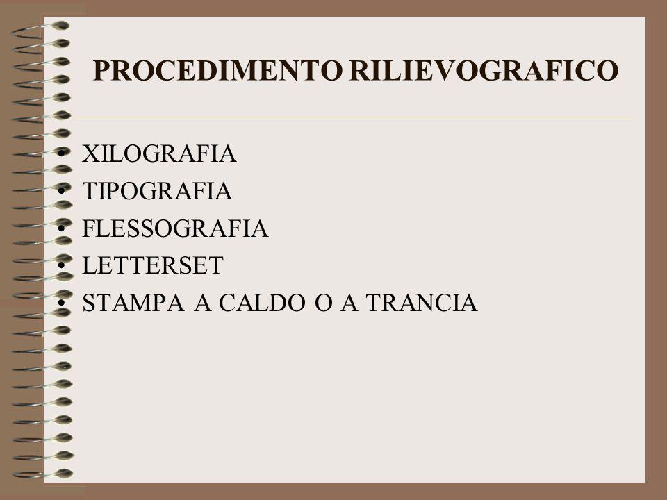 PROCEDIMENTO RILIEVOGRAFICO XILOGRAFIA TIPOGRAFIA FLESSOGRAFIA LETTERSET STAMPA A CALDO O A TRANCIA