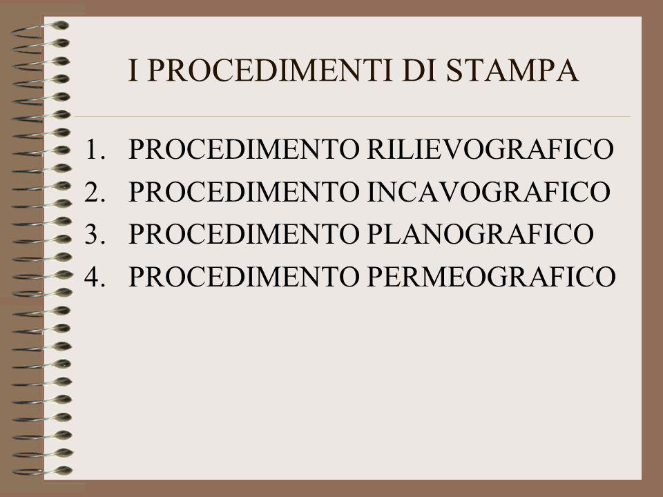 I PROCEDIMENTI DI STAMPA 1.PROCEDIMENTO RILIEVOGRAFICO 2.PROCEDIMENTO INCAVOGRAFICO 3.PROCEDIMENTO PLANOGRAFICO 4.PROCEDIMENTO PERMEOGRAFICO