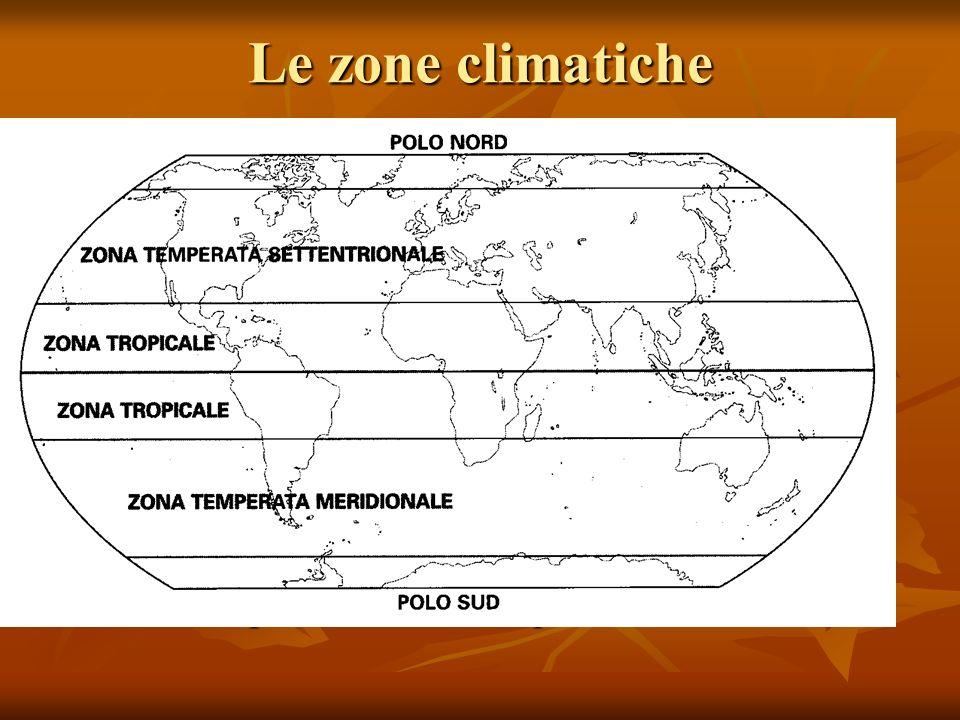 Le zone climatiche Le zone climatiche sono determinate dalla latitudine e dallinclinazione dellasse terrestre Le zone climatiche sono determinate dall