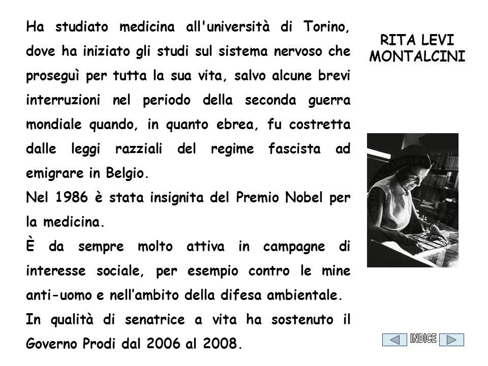 RITA LEVI MONTALCINI Ha studiato medicina all'università di Torino, dove ha iniziato gli studi sul sistema nervoso che proseguì per tutta la sua vita,