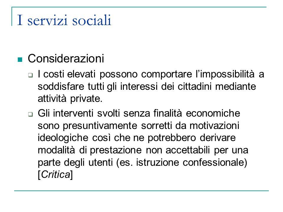 I servizi sociali Considerazioni I costi elevati possono comportare limpossibilità a soddisfare tutti gli interessi dei cittadini mediante attività private.
