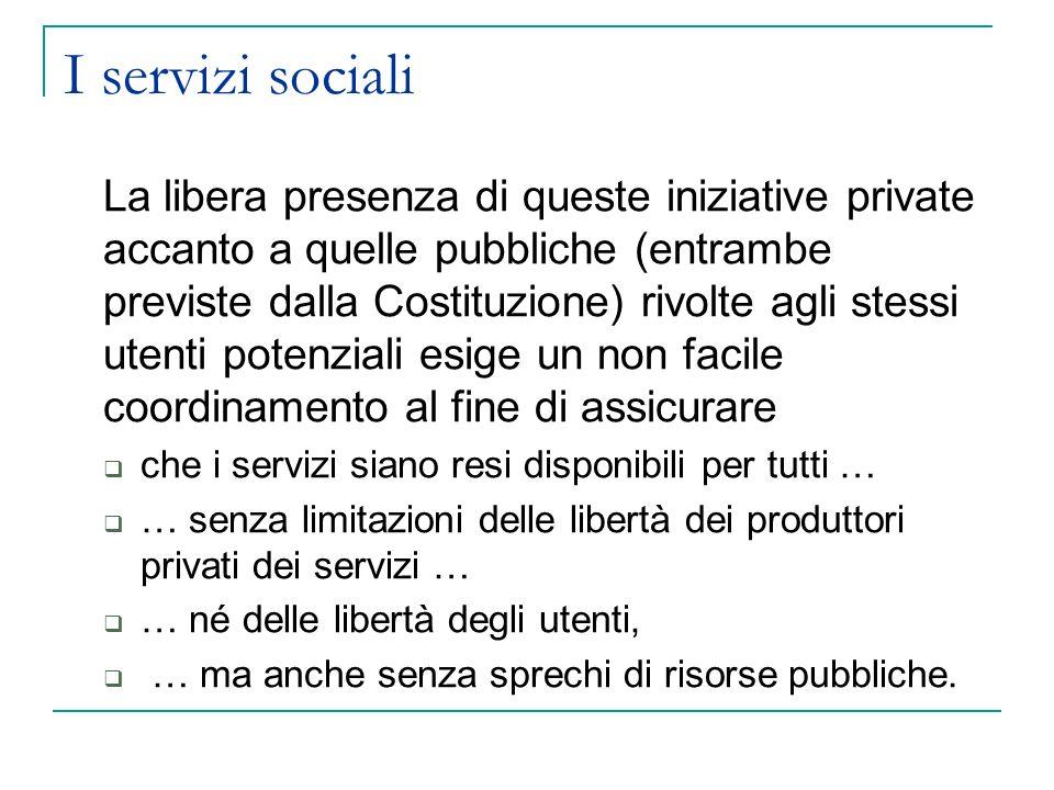 I servizi sociali La libera presenza di queste iniziative private accanto a quelle pubbliche (entrambe previste dalla Costituzione) rivolte agli stess