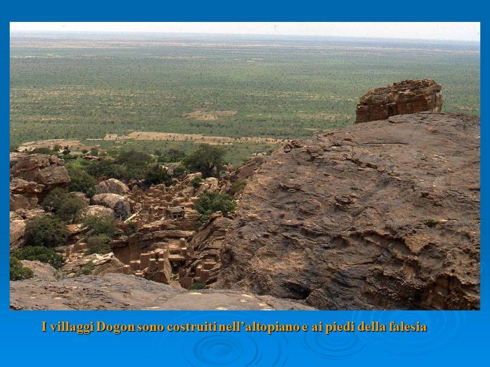 I villaggi Dogon sono costruiti nellaltopiano e ai piedi della falesia