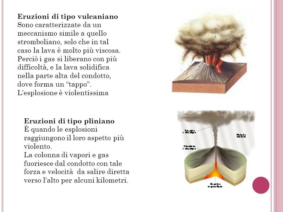 Eruzioni di tipo vulcaniano Sono caratterizzate da un meccanismo simile a quello stromboliano, solo che in tal caso la lava è molto più viscosa. Perci