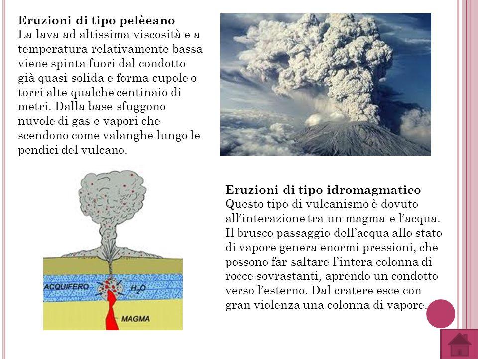 Eruzioni di tipo pelèeano La lava ad altissima viscosità e a temperatura relativamente bassa viene spinta fuori dal condotto già quasi solida e forma