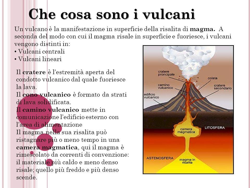 Che cosa sono i vulcani Un vulcano è la manifestazione in superficie della risalita di magma. A seconda del modo con cui il magma risale in superficie