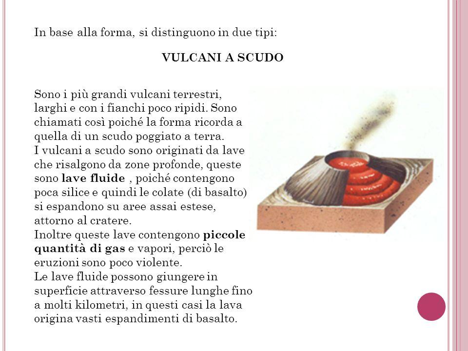 In base alla forma, si distinguono in due tipi: VULCANI A SCUDO Sono i più grandi vulcani terrestri, larghi e con i fianchi poco ripidi. Sono chiamati