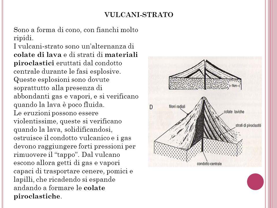 VULCANI-STRATO Sono a forma di cono, con fianchi molto ripidi. I vulcani-strato sono unalternanza di colate di lava e di strati di materiali piroclast