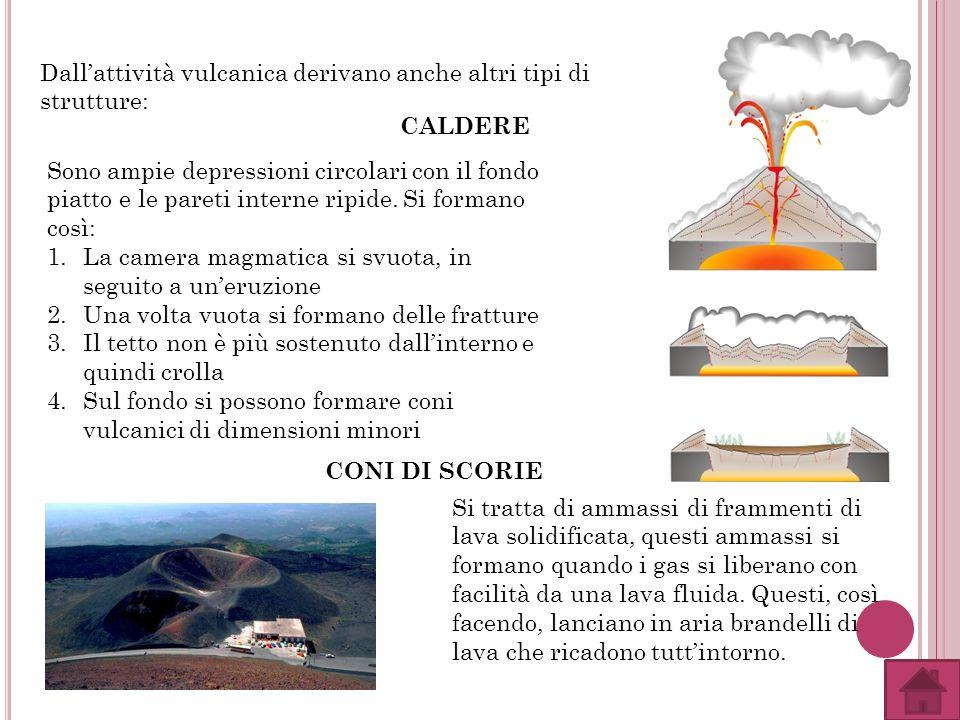 Dallattività vulcanica derivano anche altri tipi di strutture: CALDERE Sono ampie depressioni circolari con il fondo piatto e le pareti interne ripide