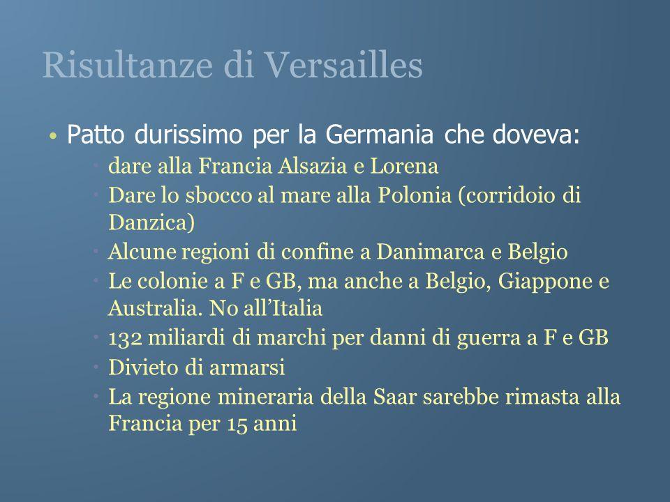 Risultanze di Versailles Patto durissimo per la Germania che doveva: dare alla Francia Alsazia e Lorena Dare lo sbocco al mare alla Polonia (corridoio