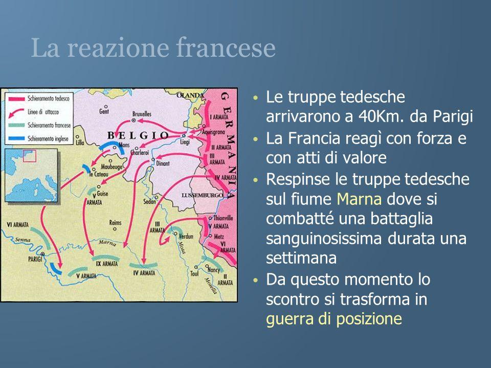 La reazione francese Le truppe tedesche arrivarono a 40Km. da Parigi La Francia reagì con forza e con atti di valore Respinse le truppe tedesche sul f