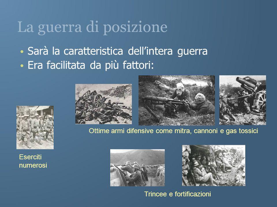 La guerra di posizione Sarà la caratteristica dellintera guerra Era facilitata da più fattori: Eserciti numerosi Ottime armi difensive come mitra, can