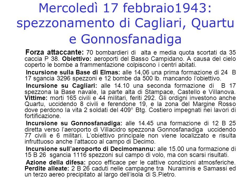 Mercoledì 17 febbraio1943: spezzonamento di Cagliari, Quartu e Gonnosfanadiga Forza attaccante: 70 bombardieri di alta e media quota scortati da 35 ca