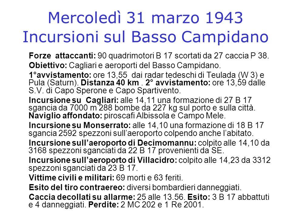 Mercoledì 31 marzo 1943 Incursioni sul Basso Campidano Forze attaccanti: 90 quadrimotori B 17 scortati da 27 caccia P 38. Obiettivo: Cagliari e aeropo
