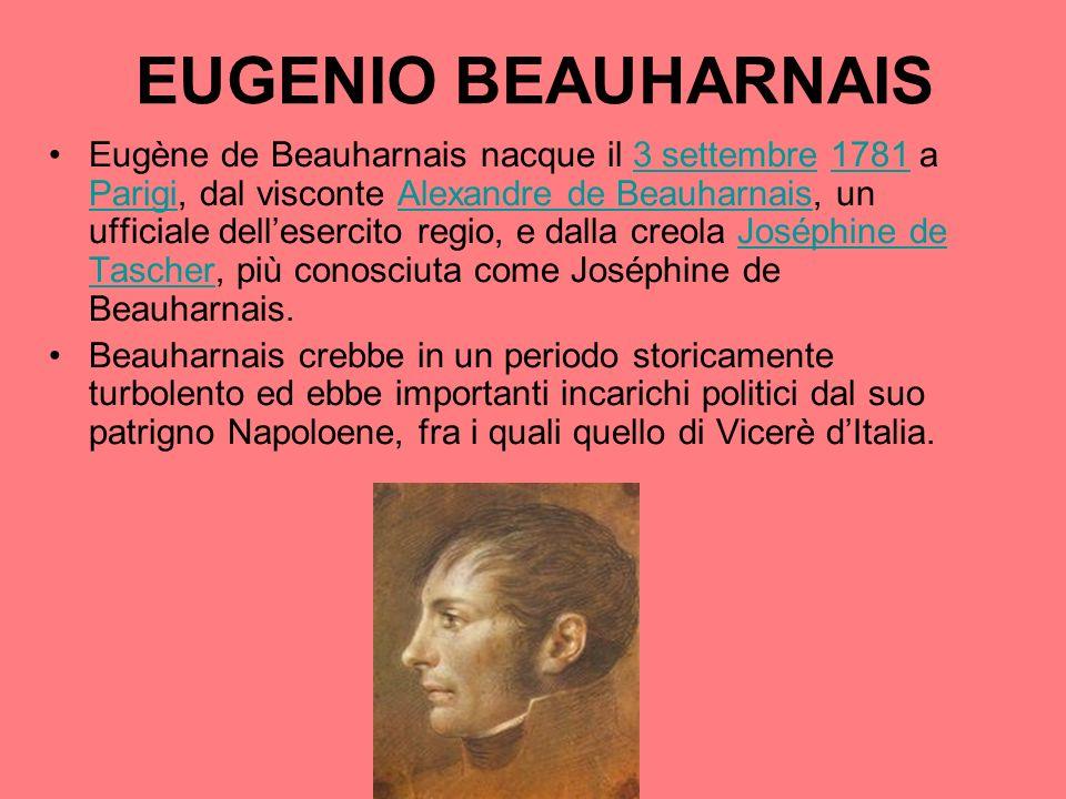 EUGENIO BEAUHARNAIS Eugène de Beauharnais nacque il 3 settembre 1781 a Parigi, dal visconte Alexandre de Beauharnais, un ufficiale dellesercito regio,