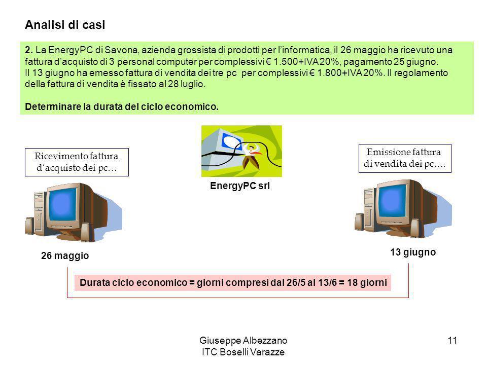 Giuseppe Albezzano ITC Boselli Varazze 11 Analisi di casi 2. La EnergyPC di Savona, azienda grossista di prodotti per linformatica, il 26 maggio ha ri