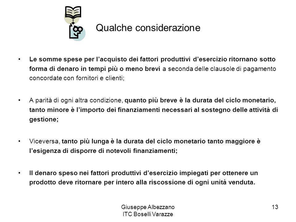 Giuseppe Albezzano ITC Boselli Varazze 13 Qualche considerazione Le somme spese per lacquisto dei fattori produttivi desercizio ritornano sotto forma