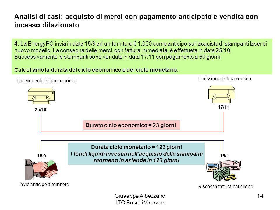 Giuseppe Albezzano ITC Boselli Varazze 14 Analisi di casi: acquisto di merci con pagamento anticipato e vendita con incasso dilazionato 4. La EnergyPC