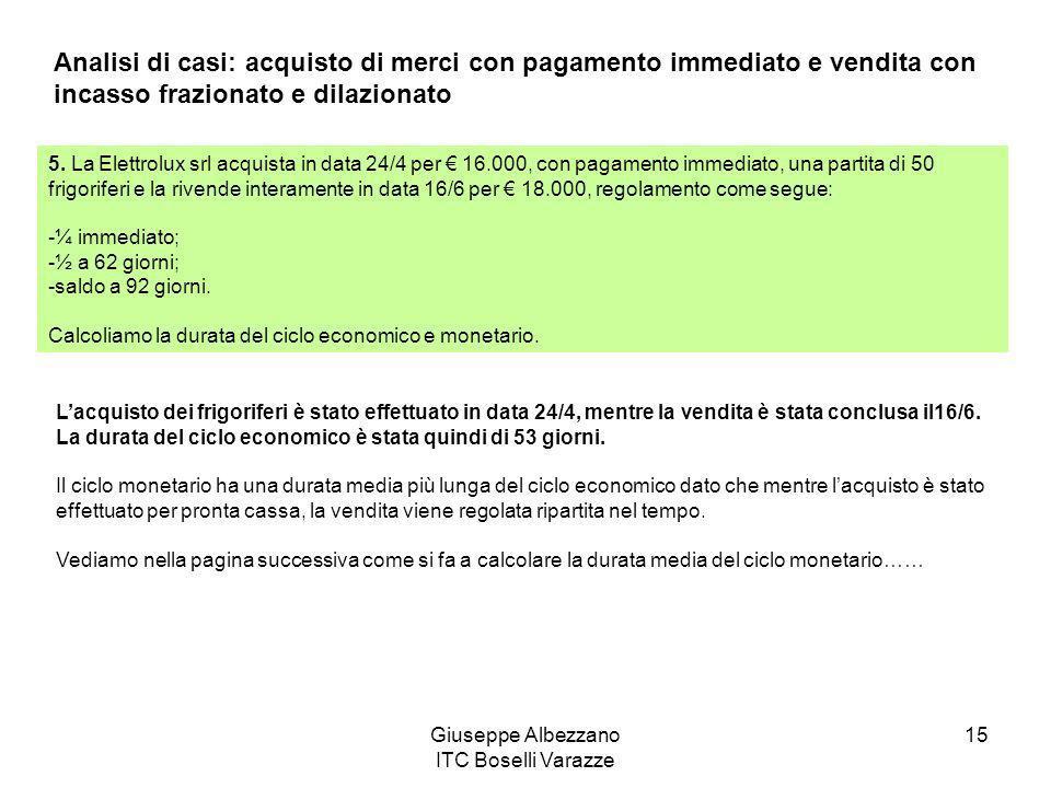 Giuseppe Albezzano ITC Boselli Varazze 15 Analisi di casi: acquisto di merci con pagamento immediato e vendita con incasso frazionato e dilazionato 5.