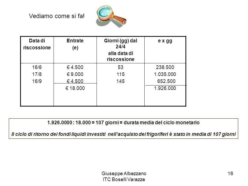 Giuseppe Albezzano ITC Boselli Varazze 16 Data di riscossione Entrate (e) Giorni (gg) dal 24/4 alla data di riscossione e x gg 16/6 17/8 16/9 4.500 9.
