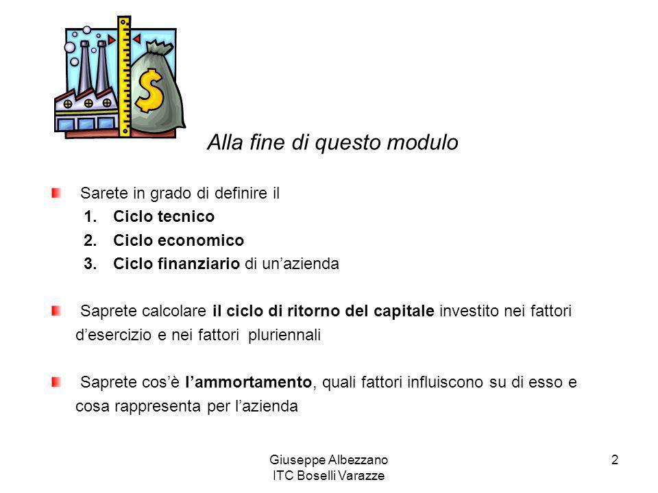 Giuseppe Albezzano ITC Boselli Varazze 2 Alla fine di questo modulo Sarete in grado di definire il 1. Ciclo tecnico 2. Ciclo economico 3. Ciclo finanz