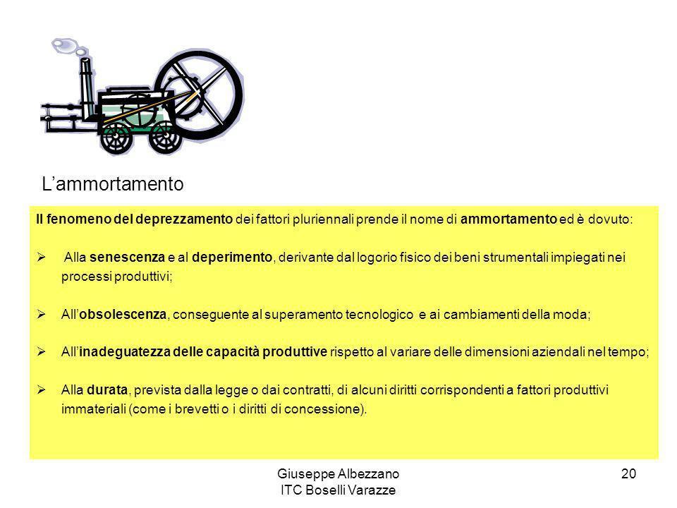Giuseppe Albezzano ITC Boselli Varazze 20 Lammortamento Il fenomeno del deprezzamento dei fattori pluriennali prende il nome di ammortamento ed è dovu