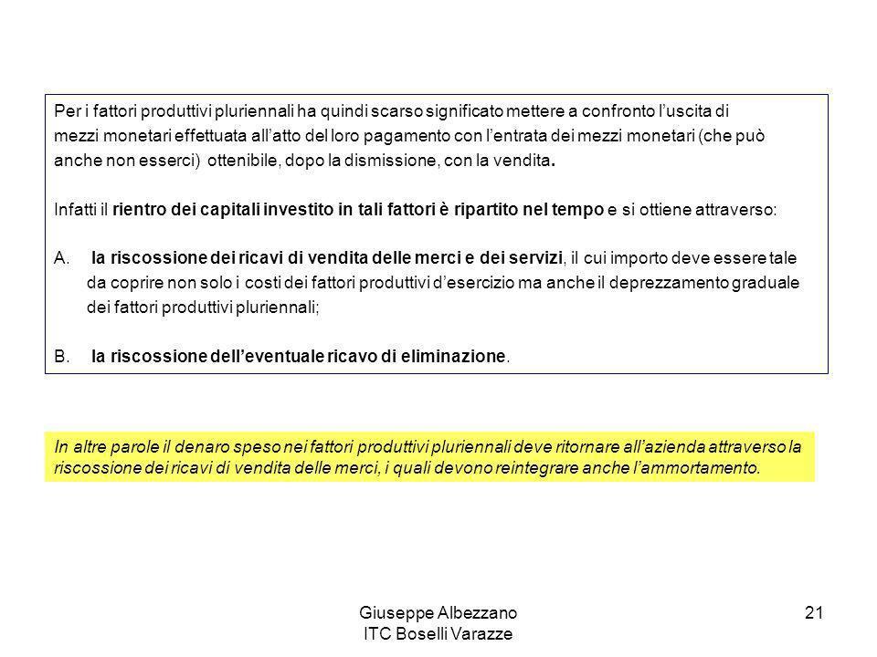 Giuseppe Albezzano ITC Boselli Varazze 21 Per i fattori produttivi pluriennali ha quindi scarso significato mettere a confronto luscita di mezzi monet
