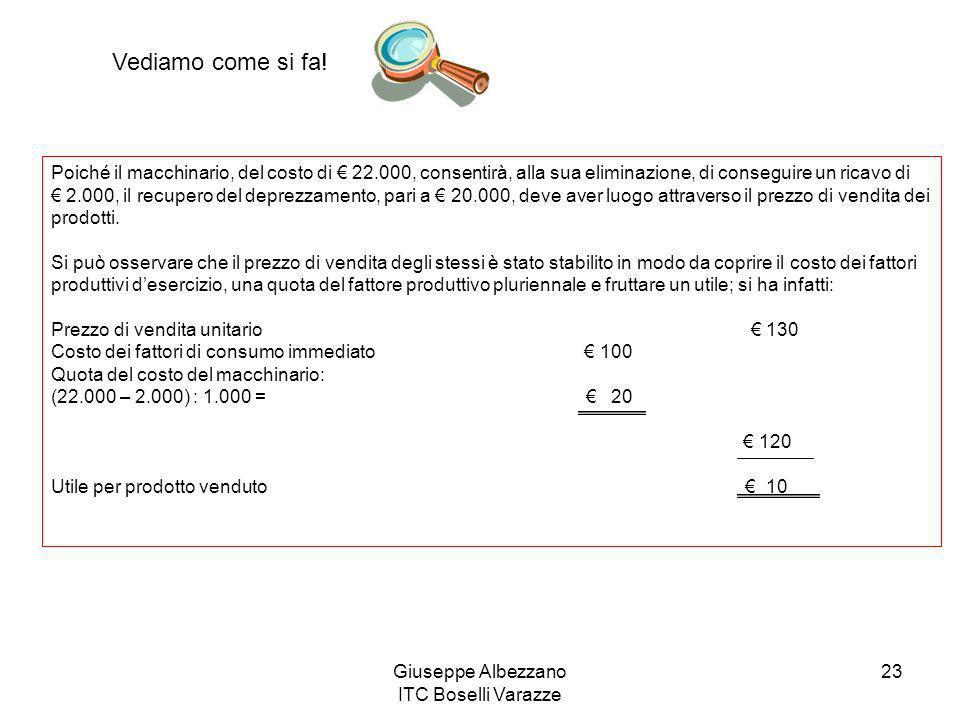 Giuseppe Albezzano ITC Boselli Varazze 23 Vediamo come si fa! Poiché il macchinario, del costo di 22.000, consentirà, alla sua eliminazione, di conseg