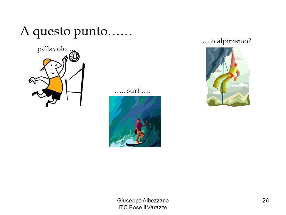 Giuseppe Albezzano ITC Boselli Varazze 26 A questo punto…… pallavolo…. ….. surf …. … o alpinismo?