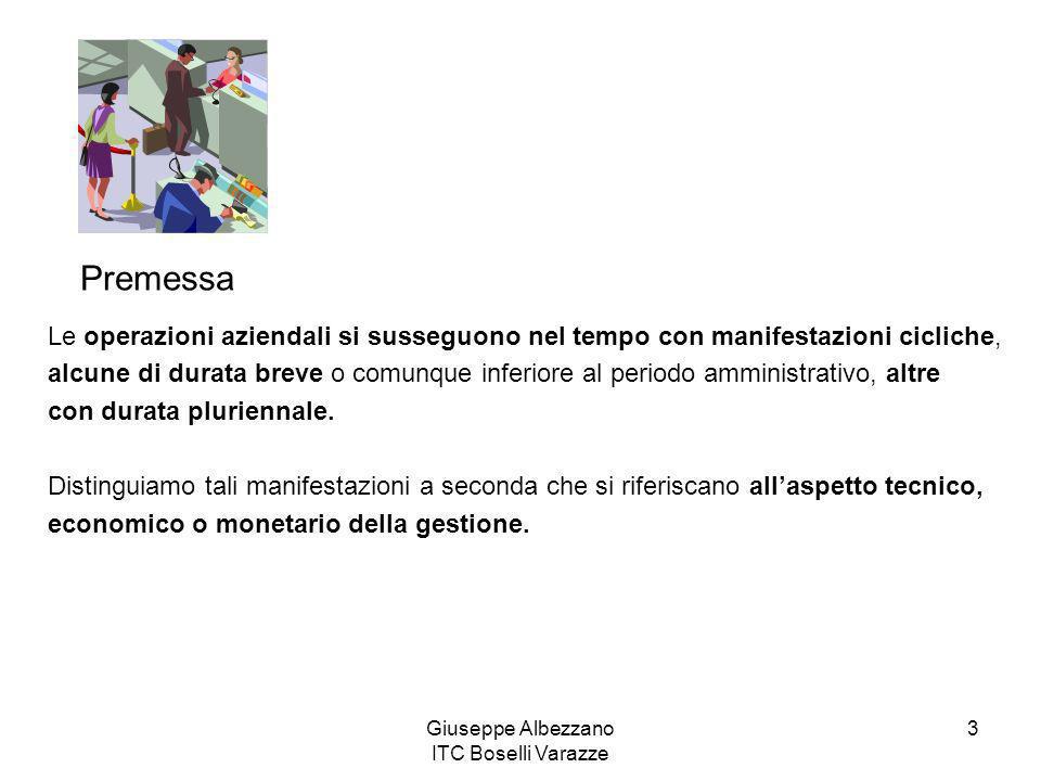 Giuseppe Albezzano ITC Boselli Varazze 3 Le operazioni aziendali si susseguono nel tempo con manifestazioni cicliche, alcune di durata breve o comunqu