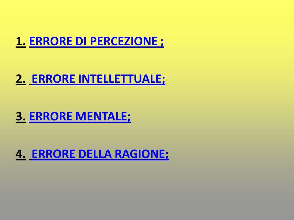 1. ERRORE DI PERCEZIONE ;ERRORE DI PERCEZIONE ; 2. ERRORE INTELLETTUALE;ERRORE INTELLETTUALE; 3. ERRORE MENTALE;ERRORE MENTALE; 4. ERRORE DELLA RAGION