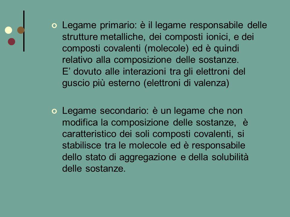 LEGAMI PRIMARI LEGAME COVALENTE : condivisione di una coppia di elettroni tra due atomi; gli elettroni provengono da tutti e due gli atomi e la condivisione può essere uniforme (legame covalente puro) oppure prevalente su uno dei due atomi (legame covalente polare), se infine gli elettroni provengono solo da un atomo abbiamo un legame covalente dativo, latomo che mette a disposizione gli elettroni si dice donatore e laltro accettore.